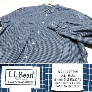 LL Bean XL Traditional Fit Wrinkle Free Shirt